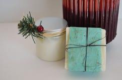 Zdroju składniki, mydło, płukanka i świeczka, Zdjęcie Royalty Free