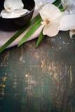 Zdroju tło z białą orchideą Przestrzeń dla teksta Obraz Royalty Free