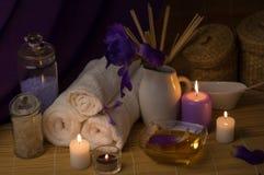 Zdroju Wciąż życie Z morze soli pętaczką I kwiatem, świeczki Obrazy Stock