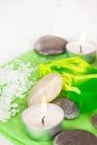 Zdroju wciąż życie z soli, kamiennego i zielonego mydłem, Zdjęcia Stock