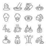 Zdroju wektoru linii masaż Odnosić sie ikony Zawiera taki ikony jak aromat świeczkę, Nożnego masaż, dyfuzor i więcej, Rozprężony  ilustracja wektor