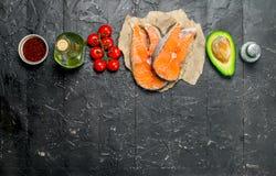 zdrowa żywność Łosoś z żywnością organiczną fotografia royalty free