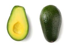 zdrowa żywność Pokrojony avocado odizolowywający na białym tle Odgórny widok obraz stock