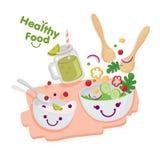 zdrowa żywność Sałatka, jogurt i owocowy sok, Obrazy Royalty Free