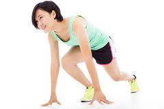 Zdrowa i sprawność fizyczna kobieta biega nad białym tłem Zdjęcie Royalty Free