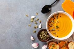 Zdrowa i wyśmienicie jesieni bani kremowa polewka w pucharze słuzyć z ziarnami i crouton na kamiennym stołowym odgórnym widoku zdjęcia stock