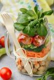 Zdrowa jarska kamieniarza słoju sałatka z chickpeas i warzywami Zdjęcia Royalty Free