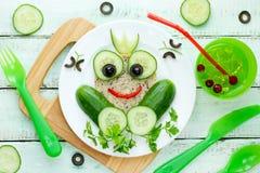 Zdrowa kanapka dla dzieciaków, żaby kanapka Obrazy Stock