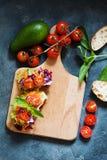 Zdrowa kanapka robić świeży ciabbata z świeżym weganinu ingre Obraz Stock