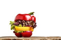 Zdrowa kanapka z świeżym pieprzem, cebula, sałatkowa sałata Detox dieta Obraz Stock