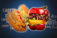 Zdrowa kanapka z świeżym pieprzem, cebula, sałatkowa sałata Detox dieta Fotografia Stock