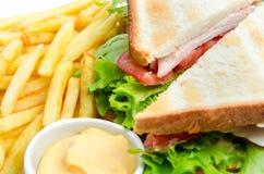Zdrowa kanapka z świeżym pomidoru i sałaty zakończeniem Obrazy Stock