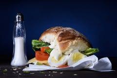 Zdrowa kanapka z gotowanym jajkiem i warzywami dla śniadania Fotografia Stock