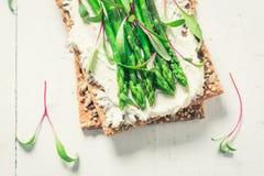 Zdrowa kanapka z śmietankowym serem i asparagusem Obrazy Stock