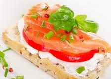 Zdrowa kanapka z zbożami chleb i łosoś na talerzu Obraz Stock