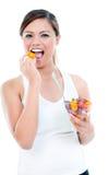 Zdrowa Młodej Kobiety Łasowania Owoc Obraz Stock