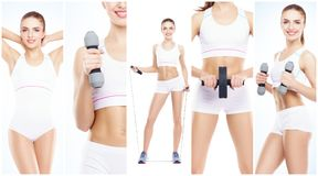 Zdrowa, sporty i piękna dziewczyna odizolowywająca na białym tle, Kobieta w sprawność fizyczna treningu kolekci Odżywianie, dieta Zdjęcie Stock