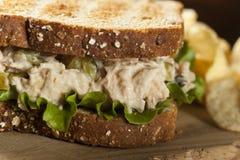 Zdrowa tuńczyk kanapka z sałatą Fotografia Stock