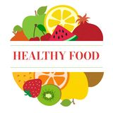 zdrowa ?ywno?? Owoc nakreślenia menu Round logo Świeży jabłko, cytryna, pomarańcze, ananas, arbuz, wiśnia, truskawka, kiwi, ilustracji