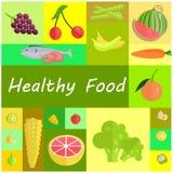 Zdrowe żywności organicznej kreskówki ilustracje Ustawiać Obrazy Royalty Free