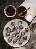 Zdrowe czekoladowe trufle z dokrętkami, datami, wysuszonymi cranberries i kokosowymi płatkami na nieociosanym tle, Odgórny widok  zdjęcie stock