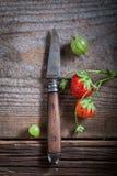 Zdrowe dzikie truskawki i agresty na starej drewnianej podłoga Zdjęcie Stock