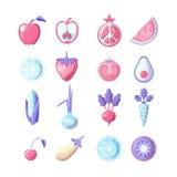 Zdrowego jedzenia ikony barwiony płaski set Owoc i warzywo w jeden ustalonym, barwione płaskie świeże zdrowe karmowe ikony, wekto ilustracji