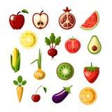 Zdrowego jedzenia ikony barwiony płaski set Owoc i warzywo w jeden ustalonym, barwione płaskie świeże zdrowe karmowe ikony, wekto royalty ilustracja
