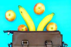 Zdrowego styl życia diety odżywiania pojęcia Odgórny widok banan i Obraz Stock