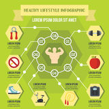 Zdrowego stylu życia infographic pojęcie, mieszkanie styl royalty ilustracja