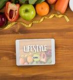 Zdrowego stylu życia webpage onlinego chłodno łasowania zdrowy jedzenie Inwestuje Zdjęcia Stock