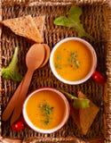Zdrowej diety jarska polewka w kubkach Obrazy Royalty Free