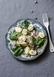 Zdrowej diety sałatka z przepiórek jajkami, couscous i zieleniami na popielatym tle, Obrazy Royalty Free