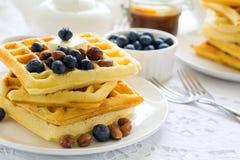 Zdrowi śniadaniowi Belgijscy gofry z masłem, czarną jagodą i dokrętkami, Fotografia Royalty Free