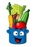 Zdrowi świezi warzywa w błękitnym garnku Obrazy Royalty Free