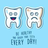 Zdrowi i chorzy zęby ilustracyjni Obraz Royalty Free
