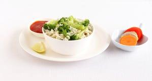 Zdrowi Karmowi brokuły Ryżowi i Sałatkowi Zdjęcia Royalty Free