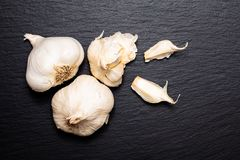 Zdrowi Karmowi pojęcie Odgórnego widoku organicznie Garlics na czerni krytykują sto zdjęcia royalty free