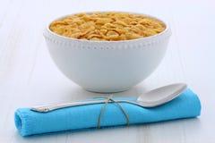 Zdrowi kukurydzani płatki śniadaniowi Fotografia Stock