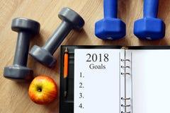 Zdrowi postanowienia dla nowego roku 2018 Obrazy Stock