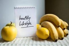 Zdrowi stylów życia słowa z owoc Obraz Royalty Free