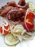 Zdrowi warzywa sałatkowi z kurczakiem Obraz Stock