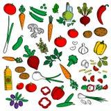Zdrowi warzywa z condiments nakreślenia ikoną Fotografia Stock