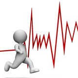 Zdrowia bicie serca Reprezentuje Wellness Sprint I Odpłaca się 3d rendering Fotografia Royalty Free