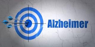 Zdrowia pojęcie: cel i Alzheimer na ściennym tle Fotografia Stock