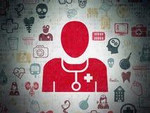Zdrowia pojęcie: Lekarka na Cyfrowych dane papieru tle zdjęcie stock