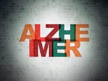 Zdrowia pojęcie: Alzheimer na Cyfrowych dane papieru tle Fotografia Stock