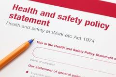 Zdrowie i bezpieczeństwo oświadczenie dot obrazy stock