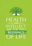 Zdrowie I intelekt Są Dwa błogosławieństwami życie Inspirować Kreatywnie motywaci wycena Z Starą Drzewną ikoną ilustracji