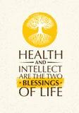 Zdrowie I intelekt Są Dwa błogosławieństwami życie Inspirować Kreatywnie motywaci wycena Z Starą Drzewną ikoną ilustracja wektor